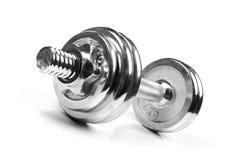 Peso de la pesa de gimnasia del ejercicio de la aptitud aislado en blanco Foto de archivo