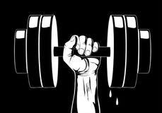 Peso de la pesa de gimnasia Mano con el peso de la pesa de gimnasia Fotos de archivo