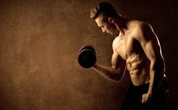 Peso de levantamento do atleta muscular do halterofilista do ajuste imagens de stock
