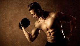 Peso de levantamento do atleta muscular do halterofilista do ajuste imagem de stock royalty free