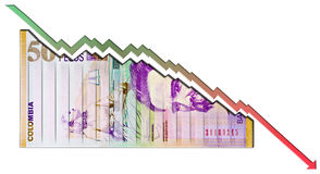 Peso Declining Graph bill Stock Photos