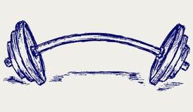 Peso do dumbbell do esboço ilustração stock