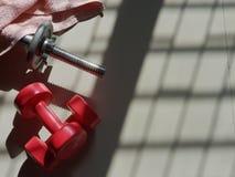 Peso e barbell vermelhos imagens de stock royalty free