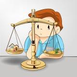 Peso entre el trabajo-dinero y su relación de familia stock de ilustración