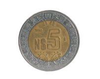 peso för mynt fem Arkivbild