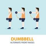 Peso Front Raises Exercise Guide alternativo Fotografia de Stock