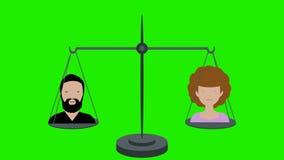 Peso igual en escalas del varón y de la pantalla verde femenina libre illustration