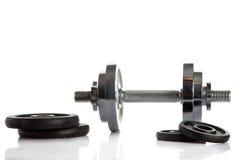 Peso isolado no conceito branco do objeto do gym do fundo Fotos de Stock Royalty Free