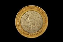 Peso-Münze des Mexikaner-zehn lokalisiert auf einem schwarzen Hintergrund Lizenzfreies Stockbild
