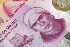 Peso-Plastik Bill des Mexikaner-fünfzig Stockbilder