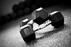 Peso que levanta-Dumbells en un gimnasio del crossfit imagen de archivo libre de regalías