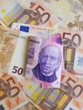 1000 peso's Mexicaanse bankbiljet en achtergrond met euro bankbiljetten Royalty-vrije Stock Foto's