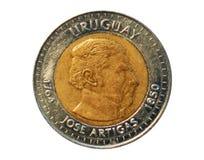 10 Peso'smuntstuk, 150 doodsjaar Algemeen Jose Artigas, Bank van Uru Stock Fotografie
