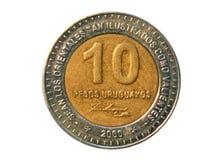 10 Peso'smuntstuk, 150 doodsjaar Algemeen Jose Artigas, Bank van Uru Royalty-vrije Stock Fotografie