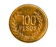 100 Peso'smuntstuk (Lange Cijfers 6mm) Bank van Colombia Obvers, 2 Royalty-vrije Stock Foto's