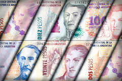 Peso Wall Background. Argentinean Peso bills creating a colorful background Stock Image