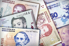 Peso Wall Background. Argentinian Peso bills creating a colorful background Royalty Free Stock Image