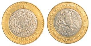 Pesoen för mexikan tio myntar Royaltyfri Foto