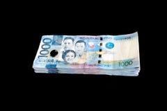 Pesoräkning för 1000 Filippinerna Fotografering för Bildbyråer