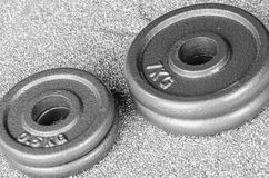 Pesos cinzentos do dumbbell Foto de Stock