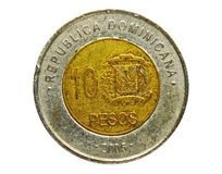 10 Pesos coin, Bank of Dominican Republic. Obverse, issue 2005. Isolated on white royalty free stock images