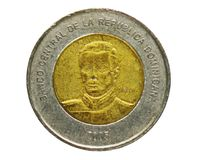 10 Pesos coin, Bank of Dominican Republic. Reverse, issue 2005. Isolated on white stock photo