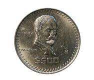 500 Pesos coin, Bank of Mexico. Obverse, 1987. 500 Pesos coin isolated on white, Bank of Mexico. Obverse, 1987 stock image