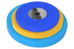 Pesos coloreados de la pesa de gimnasia aislados en blanco fotos de archivo libres de regalías