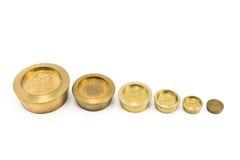 Pesos de bronze do tamanho diferente Imagem de Stock