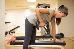 Pesos de elevación del entrenamiento de la fuerza de la mujer del gimnasio de la aptitud Imagen de archivo libre de regalías