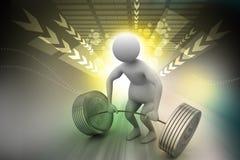 pesos de elevación del hombre 3D Foto de archivo libre de regalías