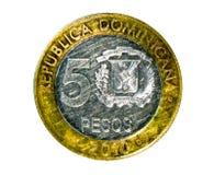 5 Pesos (den 50th årsdagcentralbanken) myntar, banken av dominikanen Royaltyfri Fotografi