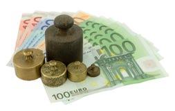 Pesos en el dinero euro Imagen de archivo libre de regalías