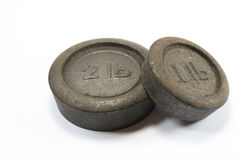 Pesos 1lb e 2lb antigos da cozinha Imagens de Stock