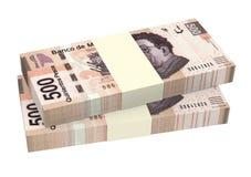Pesos mexicains d'isolement sur le fond blanc Images stock