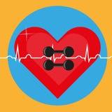 Pesos no fundo do coração e do ECG como um símbolo da saúde Imagem de Stock