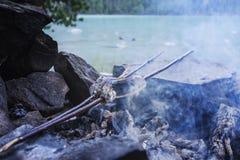 Pesque a asado a la parrilla en el beachon el fondo de un lago hermoso Comida turística durante un alto en la campaña carne asada imagenes de archivo