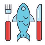 Pesque el restaurante, mariscos que comen, concepto del almuerzo Ilustración del Vector
