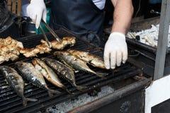 Pesque el tabaka de la caballa y del pollo asado a la parrilla en el Bbq Foto de archivo libre de regalías