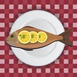 Pesque en la placa blanca con el limón y las hierbas Ejemplo del icono del vector Imagen de archivo
