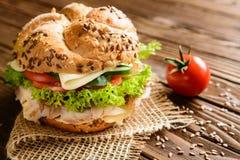 Pesque la hamburguesa con la carne de la caballa, el queso y las verduras frescas Fotos de archivo