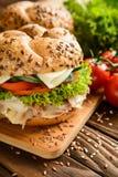 Pesque la hamburguesa con la carne de la caballa, el queso y las verduras frescas Fotos de archivo libres de regalías