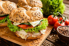 Pesque la hamburguesa con la carne de la caballa, el queso y las verduras frescas Foto de archivo