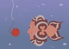Pesque la imagen subacuática del mar de la pesca de gancho de la manzana del cebo de la tentación del hombre Fotos de archivo libres de regalías