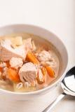 Pesque la sopa con el perlé de los salmones y del orge Imágenes de archivo libres de regalías