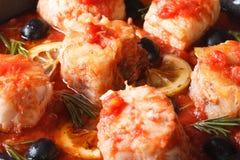 Pesque no molho de tomate com o limão e as azeitonas macro horizontal Imagem de Stock Royalty Free