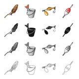 Pesque nos espetos, captura em uma cubeta, atração da pesca da isca, flutuador Pescando ícones ajustados da coleção no monochrome ilustração royalty free