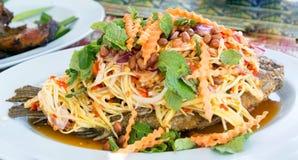 Pesque o alimento do assado, peixe cozinhado, alimento do assado Imagem de Stock