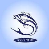 Pesque o logotipo ou o ícone, projeto do vetor da silhueta do gancho molde Clube da pesca, Fisher Fotografia de Stock