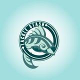 Pesque o logotipo ou o ícone, projeto do vetor da silhueta do gancho molde Clube da pesca, Fisher Foto de Stock Royalty Free